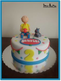 Ruca Cake Caillou Cake, Little Pigs, 3rd Birthday, Fondant, Desserts, Fourth Birthday, Birthday Cakes, Party, Conch Fritters