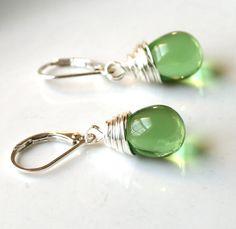 Green Earrings Emerald Green Forest Green Sterling by SimplySleek, $18.00