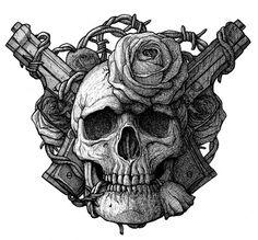 Skull, guns and roses by DariusM1993