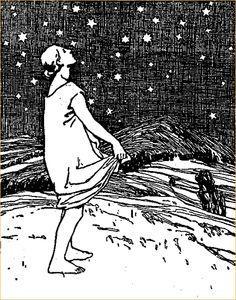 """""""Die Sterntaler"""" (""""Star money"""") by Grimms, illus. Otto Ubbelohde.  Not a GIF."""