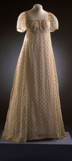 Muslin dress with metallic embroidery. 1803-5 Bath Fashion Museum