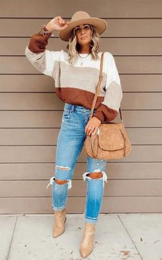 Fall Fashion Outfits, Fall Fashion Trends, Fall Winter Outfits, Cute Fashion, Autumn Winter Fashion, Trendy Outfits, Cute Outfits, Color Block Sweater, My Style