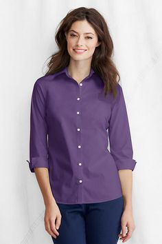 Women's 3/4-sleeve Modern Broadcloth Shirt from Lands' End