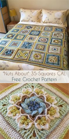 Nuts About 35 Squares CAL [Free Crochet Pattern Nuts about Squares is a blanket with 35 lovely squares designed by 11 talented crochet designers. Some of them are well . Crochet Motifs, Crochet Blocks, Granny Square Crochet Pattern, Afghan Crochet Patterns, Crochet Squares, Crochet Granny, Granny Squares, Crochet Afghans, Free Crochet Square