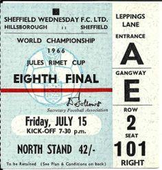 1966 World Cup ticket - Spain v Switzerland at Hillsborough