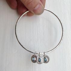 Honeybourne Jewellery . Bespoke . Aquamarine Pieces of Eight Charm Bangle . Solid Silver