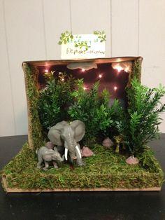 Elephant grassland habitat shoe box project