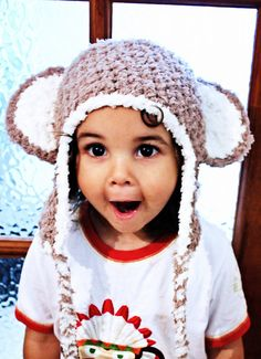 6 to 12m Monkey Hat Baby Crochet Monkey Earflap Hat by BabaMoon, $28.00