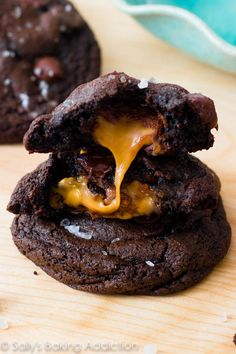 Decadent dark chocolate cookies stuffed with caramel and topped with sea salt. Totally worth every bite! sallysbakingaddiction.com
