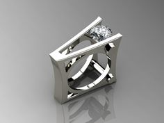 Ring | Harry Roa. 'PS Tantric'   Palladium silver and white topaz.