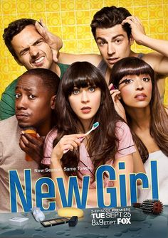 New Girl With Zooey Deschanel, Jake Johnson, Max Greenfield, Hannah Simone. After a bad break-up, Jess, an offbeat young woman, moves into an apartment loft with three single men. Although they find her behavior very unusual, the men support her - most of the time.