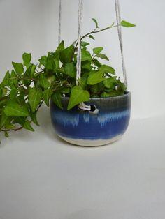 Small Hanging Planter - Hanging pot for succulent plants - Blue & white Handmade Ceramic hanging planter