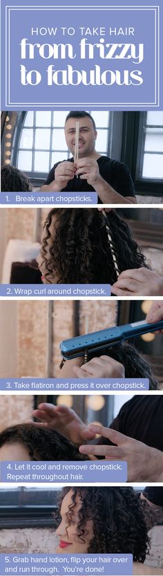 This 1 kitchen item will turn your curly hair from frizzy to fabulous This curly hair tutorial shows you how you can tame your frizz using a chopstick. This easy beauty hack is a must-try. It's so simple. Curled Hairstyles, Cool Hairstyles, Chopstick Hair, Frizzy Hair, Tame Curly Hair, Curly Hair Tutorial, Hydrate Hair, How To Curl Your Hair, Strong Hair