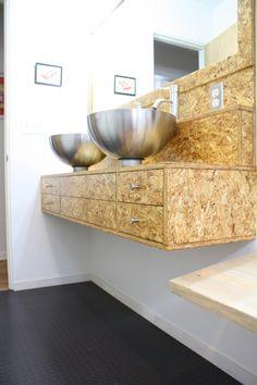 OSB floating vanity. via Dwelement's Room for Inspiration