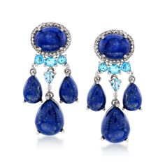 Ross-Simons - Lapis and 1.50 ct. t.w. Blue and White Topaz Chandelier Earrings in Sterling Silver - #875309