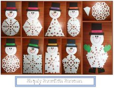 FREE---27 pages. Your students will enjoy choosing a 2D shape, folding and snipping it into a lacey snowflake that will become the tummy of their snowman. Includes directions, patterns and a list of helpful websites for more lovely paper snowflake activities.