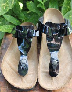 Birkenstock Birkies Black Patent Leather  T Strap Sandals 37 Womens 6 #Birkenstock #TStrapSandals