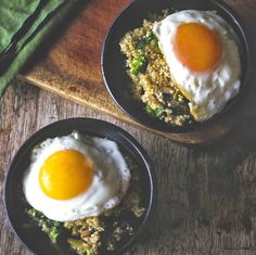 mushroom//broccoli quinoa w over easy egg