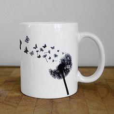 Butterfly Mug Dandelion Mug Personalised Ceramic