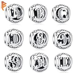 Pandora Style 925 Sterling Silver Jewelry Crystal Alphabet A-Z Letter Charms 958dea35d6e