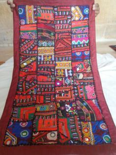 Traditional Handmade Vintage Patchwork Wall Hanging With Mirror Detail