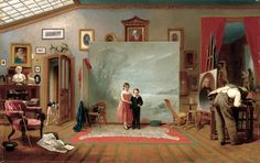 Thomas Le Clear (1818-1882)  - Interior With Portraits (1865) (700x441, 406Kb)