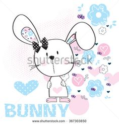 cute white bunny girl baby with flower vector illustration