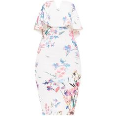 White Floral Print Bandeau Midi Dress ($44) ❤ liked on Polyvore featuring dresses, white bandeau dress, white day dress, floral print midi dress, white midi dress and calf length dresses