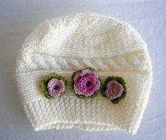 Chica sombrero del bebé - Baby Girl Gorro de lana - Knit recién nacido sombrero - Baby Sombrero de invierno