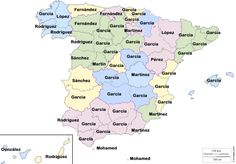 Apellidos más populares por provincia de nacimiento (datos del conjunto de la población). Mapa original de D-maps ►Huffington Post (23/05/14)