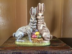 SOLD! VINTAGE EASTER BUNNY RABBIT PAIR FIGURINE HAND PAINTED EGGS BASKET COLLECTIBLE