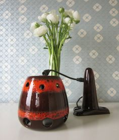 Two Vintage Brown and Orange Fat Lava Wall Lamp 1970s door Vantoen op Etsy