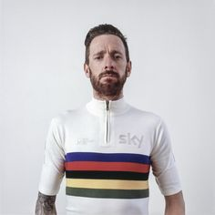 Rapha | Wiggins' World Champion Wool... For Bradley Wiggins' last-ever Paris-Nice, Rapha have designed an official Team Sky, custom-made warm up kit.