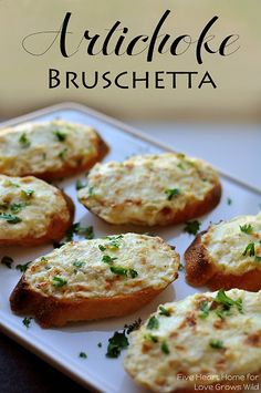 Artichoke Bruschetta or Hot Artichoke Dip ~ an easy appetizer or dip, depending on how fancy the occasion is | {Five Heart Home for Love G…