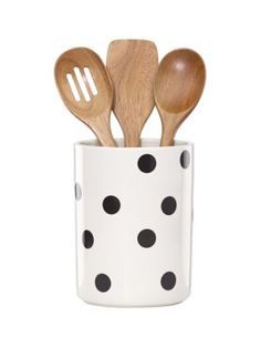deco dot crock with 3 wooden utensils - kate spade new york
