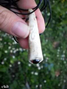 Carved Deer Antler Pendant With Garnet Cabochon