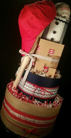 4 Tier Major League DIAPER CAKE w/ official baseball | mini bat | boys