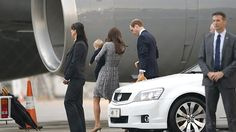 Prince George, along with parents, Kate & William arrive in Sydney Australia on a Qantas