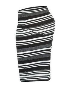 Maternity White Stripe Overbump Skirt   New Look