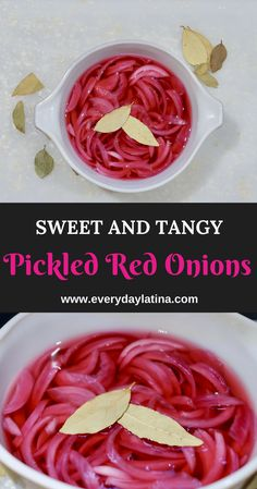 Tangy and sweet pickled red onions are a great topping for tacos, adding great flavor and crunch to each bite. Red Onion Recipes, Mexican Food Recipes, New Recipes, Healthy Recipes, Sweet Pickled Onions Recipe, Pickeled Red Onions, Canning Recipes, Canning Tips, Pickling