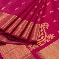 Subhashini Magenta Handwoven Kanjivaram Silk Saree With Paisley Motifs 10008431 - AVISHYA.COM