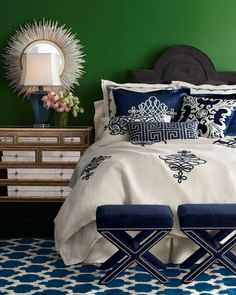 """Blue & White decor in a bright emerald green room -- Callisto Home - """"St. Martin"""" Bed Linens - hand-sewn & hand-embroidered bed linens showcase airy & intricate applique work in cream & navy. Made of linen & navy rayon velvet by Callisto Home. - Horchow"""