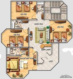 خريطة فيلا رائعه صغيرة المساحه - مخطط الدور 150 متر مربع Square House Plans, 3d House Plans, Indian House Plans, Narrow Lot House Plans, House Layout Plans, Luxury House Plans, Dream House Plans, Modern House Plans, House Layouts