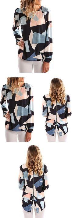 FLYMALL O-neck Geometric printed t shirt full sleeves chiffon tops women's loose casual harajuku zipper t shirts 2017 summer new
