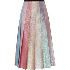 Gucci Pleated lamé midi skirt found on Polyvore featuring skirts, gucci, pastel pink, pleated midi skirt, fitted skirts, knee length a line skirt, pink midi skirt and pink skirt