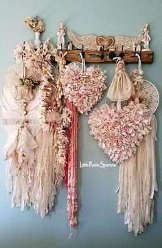 Pink hearts, rag hearts, wire hearts, dream catchers, doilies and lace, shabby chic