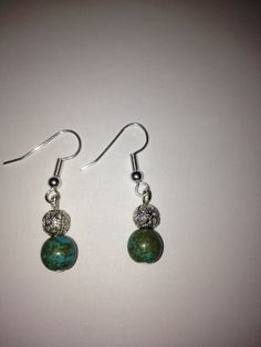 Green Howlite Turquoise Dangle Earrings with by BikeronCrafts, £3.00