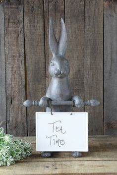 Our Rabbit With Ceramic Message Board will sit on you counter to announce your menu. Visit Antique Farmhouse for more bunny and rabbit figurines! Farmhouse Style Furniture, Rustic Furniture, Rustic Outdoor Decor, Antique Farmhouse, Farmhouse Chic, Creative Co Op, Message Board, Craft Storage, Traditional House