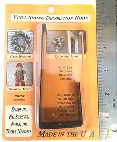 Vinyl Siding Decoration Hook Metal Holds 20lbs IN/OUTDOOR. NIB FREE SHIP IN US