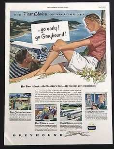 1948 Vintage Print Ad 1940s GREYHOUND Bus Travel Vacation Illustration